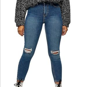 Topshop petite Jamie Mid-Blue Ripped Skinny Jeans